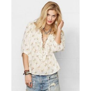 Denim and Supply RL Ruffle Floral Cotton Blouse M